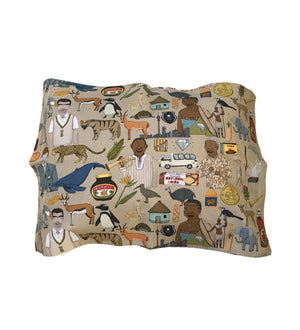 Iconic SA cushion cover 60x40. south african fabric. alex latimer. madiba. marmite. eet sum mor.