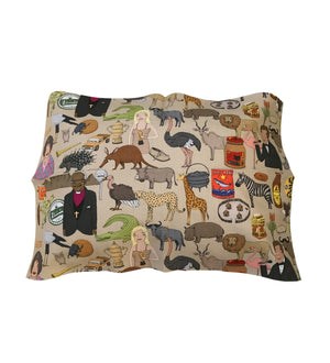 Iconic SA cushion cover 6x40. south african fabric. alex latimer. evita. lucky star. black cat peanut butter