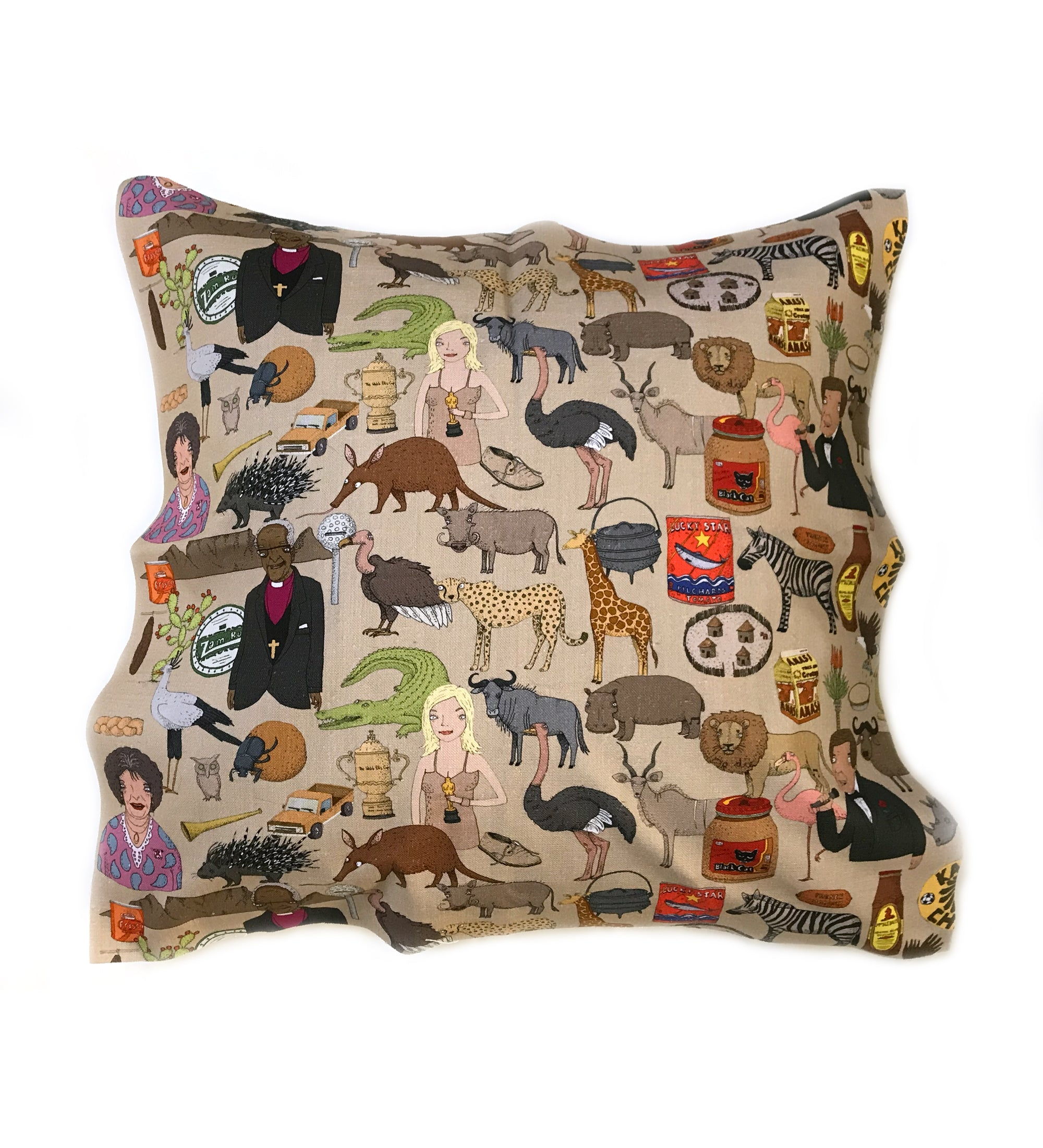 Iconic SA cushion cover 60x60. south african fabric. alex latimer. evita. lucky star. black cat peanut butter. zambuk
