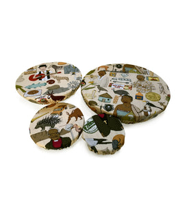 bowl covers. food cover. food storage. Iconic SA fabric