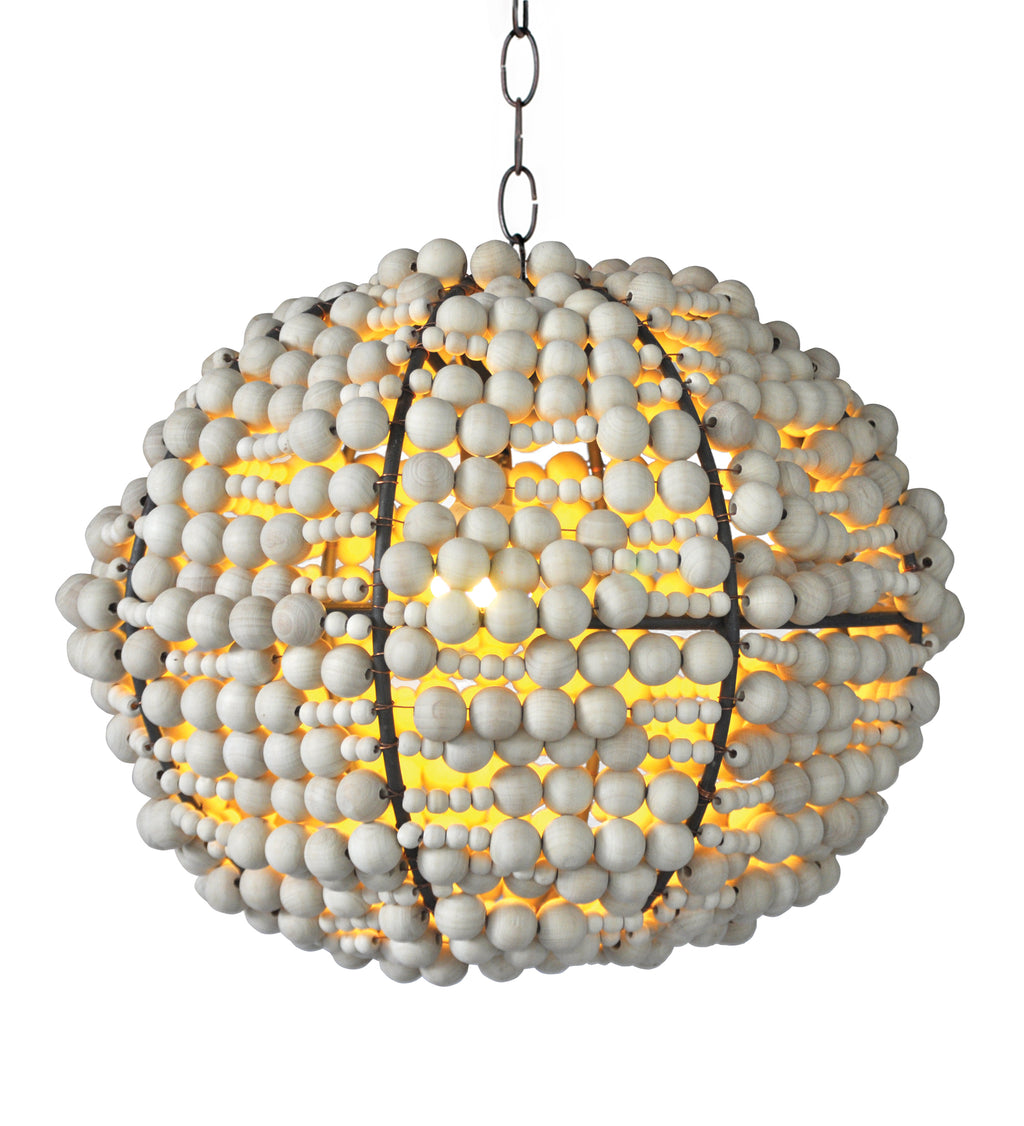 pendant light in wooden beads. Warm African design feel