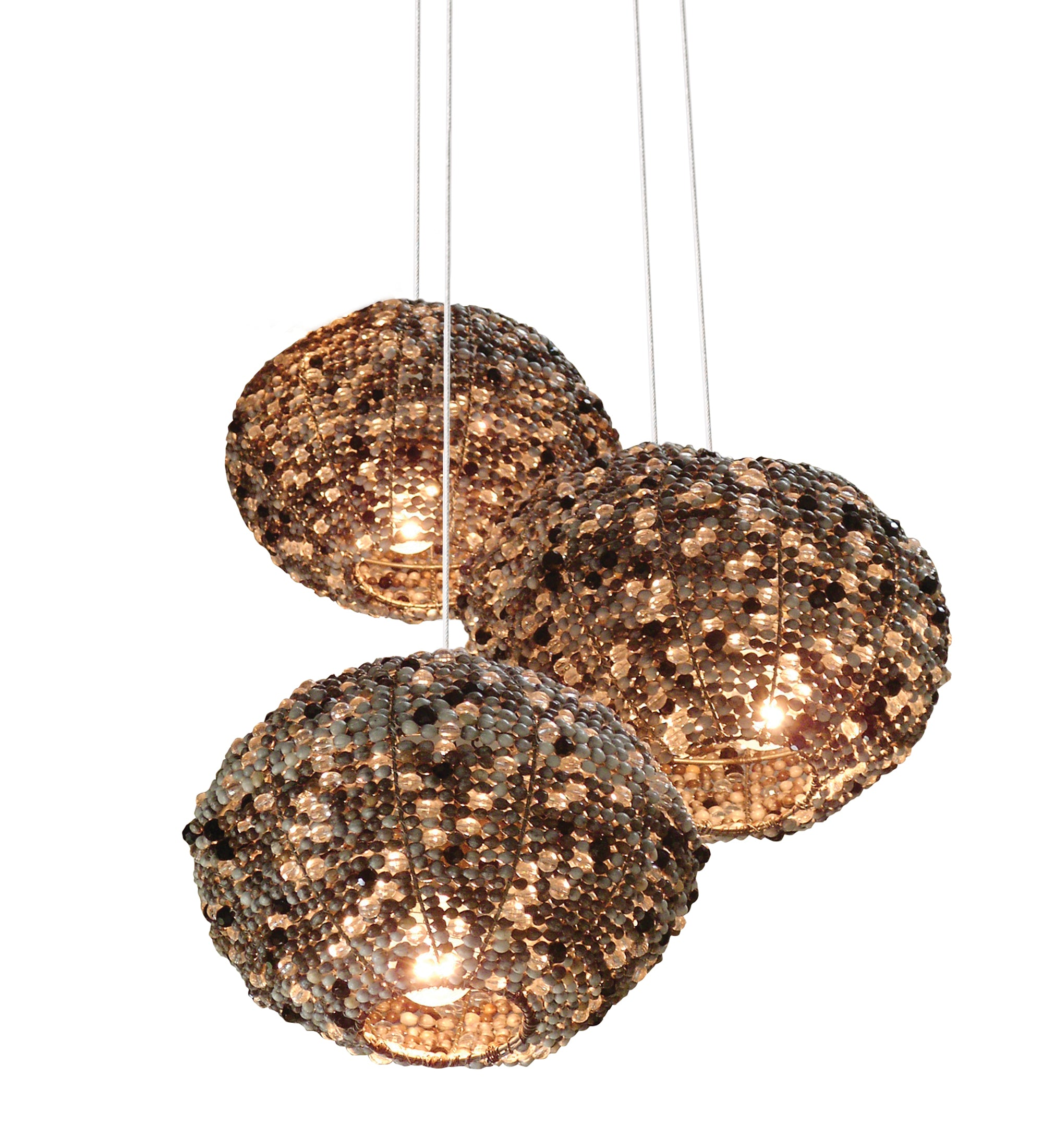 Zulu seed crystal pendant light. African light. Bespoke lighting. Lodge lighting