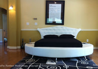 Victoria Leather round bed white color