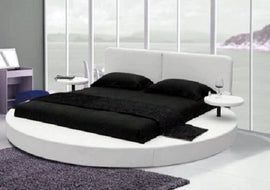 Modern white color Royal Leather Round Bed with 2 night tables