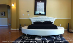VICTORIA PLATFORM LEATHER ROUND BED WHITE COLOR