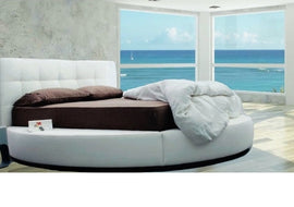 Contemporary style white Color Queen Leather Round bed