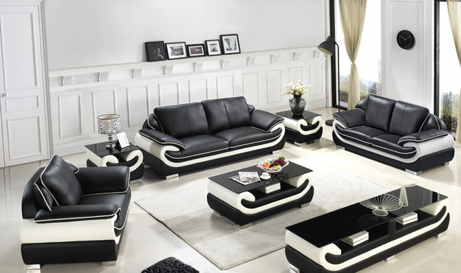 Divani Casa T777 Modern Black & White Bonded Leather Sofa Set