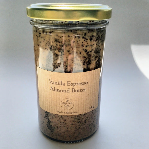Butterbelle vanilla espresso almond butter 250g jar-Nut & seed butters-Plastic Free Pantry UK