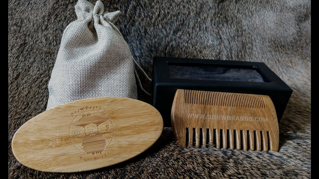 Brewbeard's Custom Logo Engraved Beard Brush and Comb set