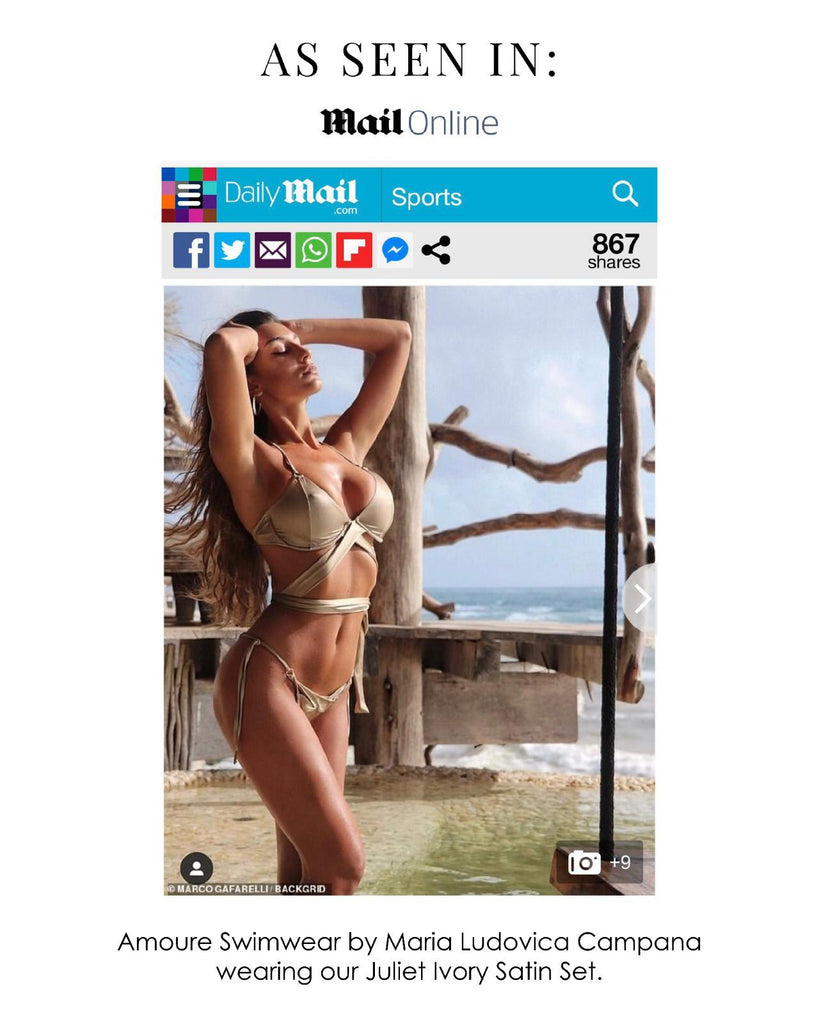 Amoure Swimwear Juliet Satin Set Featured In DailyMail Online