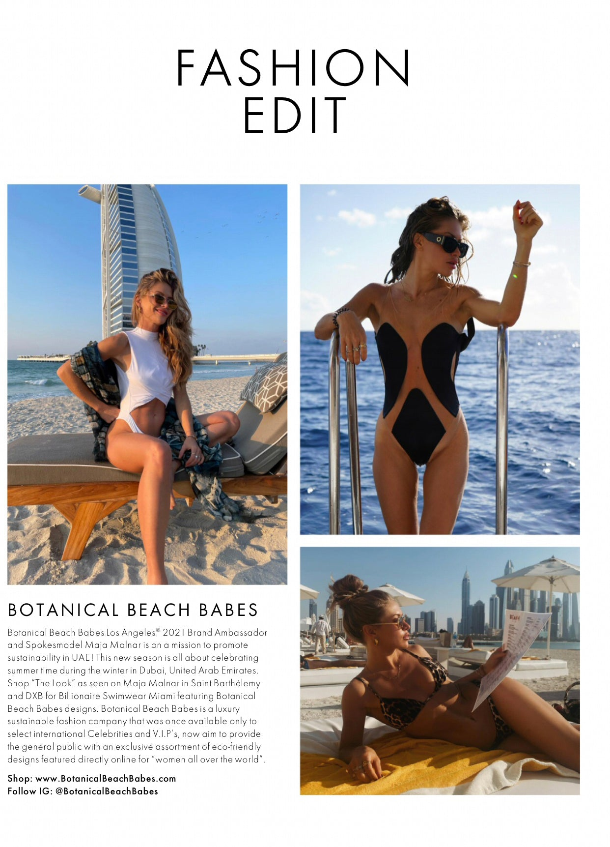Botanical Beach Babes As Seen In Elle UK Magazine April 2021 Print Issue
