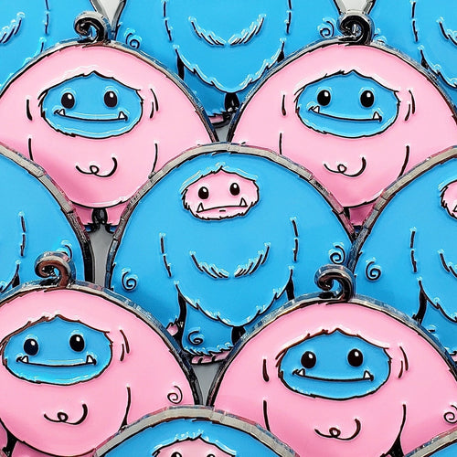 Limited Edition Cotton Candy Chomper and Reverse Cotton Candy Chomp Enamel Pin 2 Pack