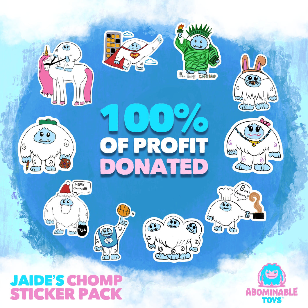 Limited Edition Jaide's Chomp Sticker Pack 100% of Profit Donated Pre-order Cannot be Cancelled