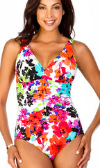 Spring Blooms Penbrooke Shirred Front One-Piece (WHT)