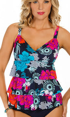 Penbrooke Eastern Exotic Triple Tier Tankini (NVY)