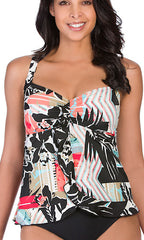 Penbrooke Pattern Sense Ruffle Bottom Tankini Top (BLK)
