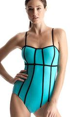 Jag Draw The Line One-Piece Swimsuit (AQUA)