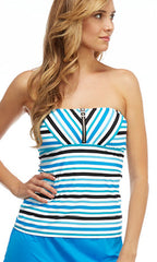 Beach House Top Side Stripe Bandeau Tankini (BLK)