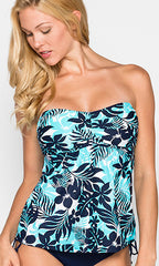 Beach House Newport Tropical Floral Bandeau Tankini (NAVY)