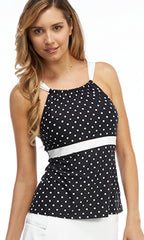 Beach House Montauk Dot High Neck Tankini (BLK)