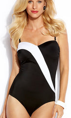 Jantzen Color Blocked Solids Sweetheart One-Piece Swimsuit (BLK)