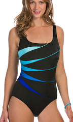 Longitude Colorblock Piping Fan Tank One-Piece (Long Torso)