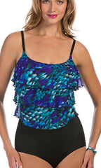 Longitude Beach Club Mesh Triple Tier Tank Swimsuit (Long Torso)