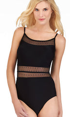 Christina Mesh Solid One-Piece Suit (BLK)