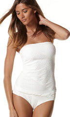 Perry Ellis Wave You Move Cable Tankini & Midwaist Bottom (SET) (WHITE)
