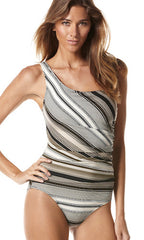 Perry Ellis Sunset Stripe One Shoulder 1PC (BLK)