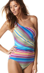 Perry Ellis Sunset Stripe One-Piece (BLU)