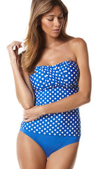 Hot Spot Perry Ellis 2PC Set Tankini & Mid-waist Bottom (SET) (BLU)