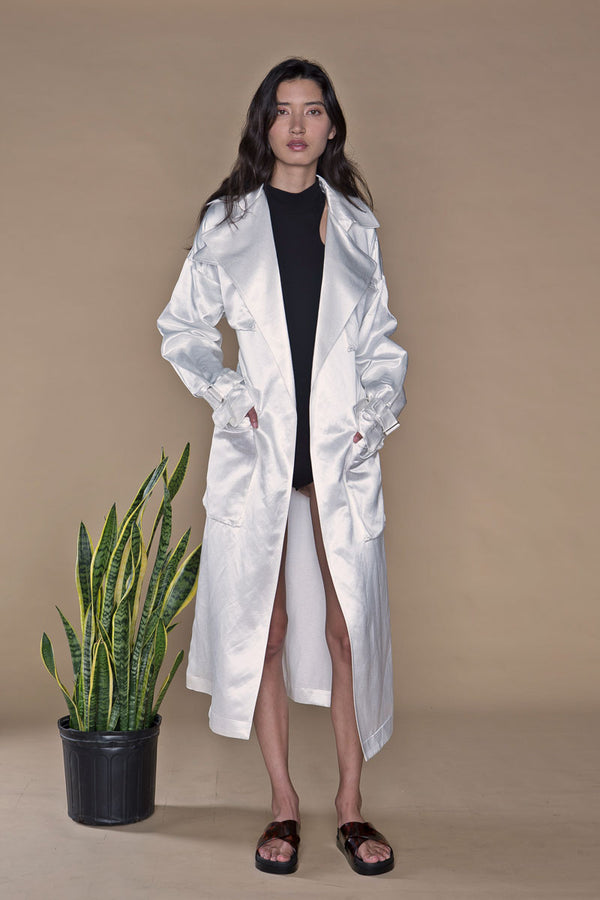 Hitchhiker Trench White, Wild Silk + Hemp (PREORDER)