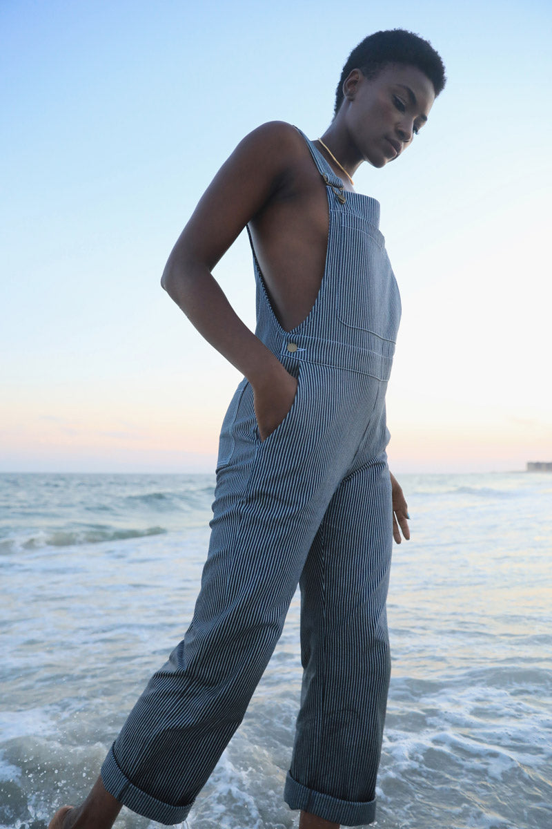 Arielle sustainable fashion women's unisex organic cotton overall hickory stripe