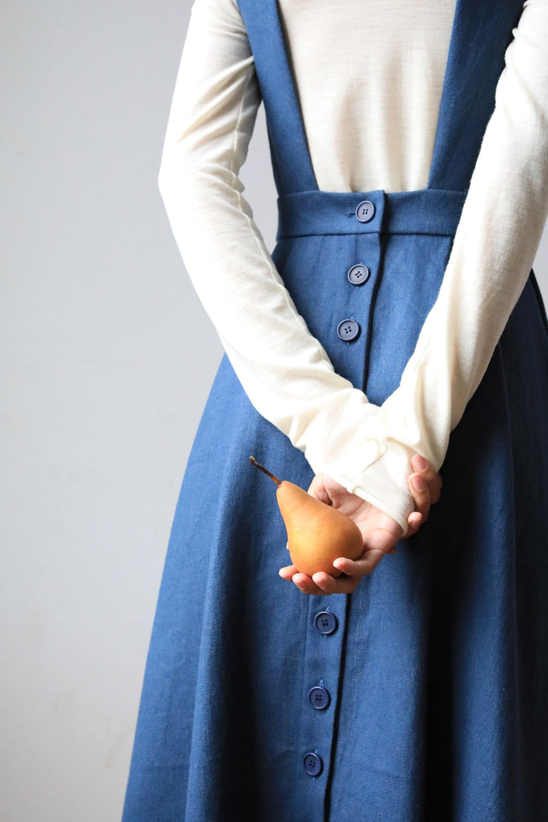 Arielle sustainable fashion Dajana pinafore Irish linen made in nyc