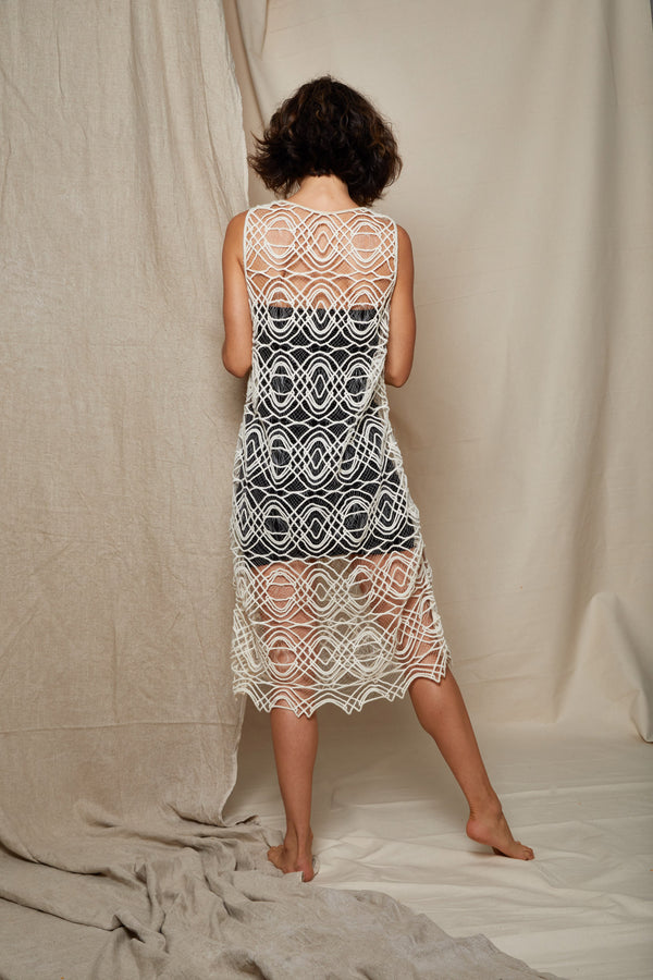ARIELLE geometric sheer patience dress handmade in nyc