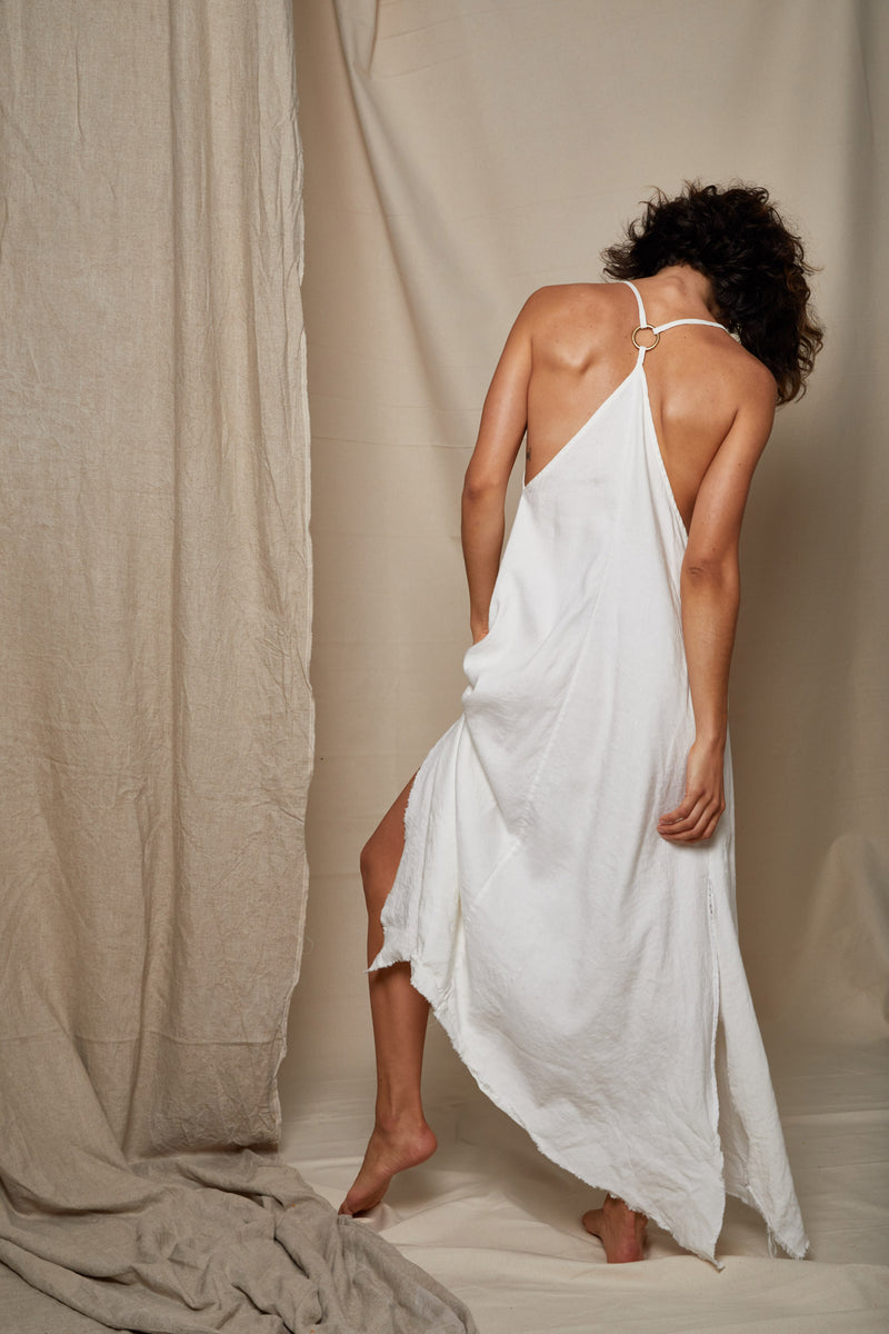 ARIELLE Irish linen long dress backless raw hem