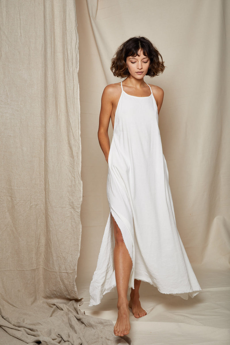 ARIELLE Irish linen long dress side slits