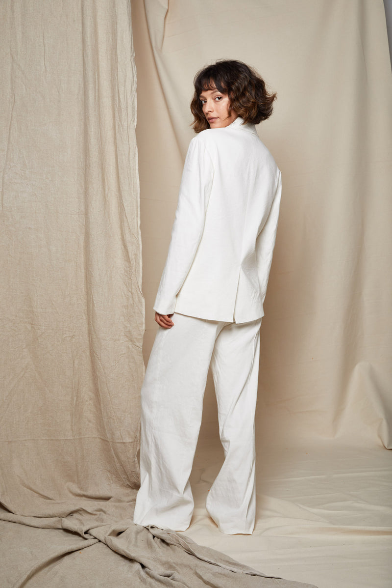 ARIELLE Irish linen tencel white power suit back
