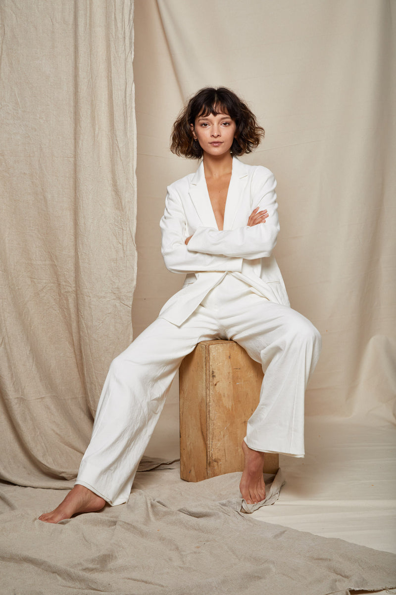 ARIELLE Irish linen tencel white power suit