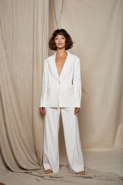 ARIELLE Irish linen tencel white power suit jacket