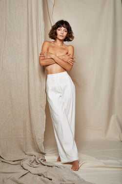 ARIELLE Irish linen tencel prowess white pant front