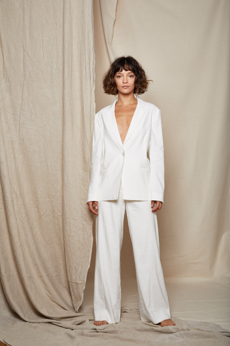 ARIELLE Irish linen tencel prowess white pant suit