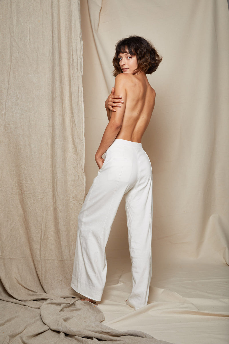 ARIELLE Irish linen tencel prowess white pant back