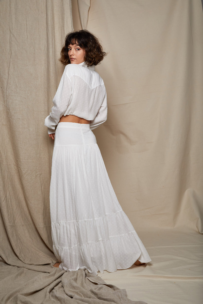 ARIELLE milk fabric milkmaid skirt back