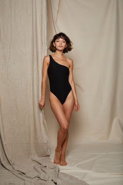 ARIELLE recycled polyester black one piece swimsuit front