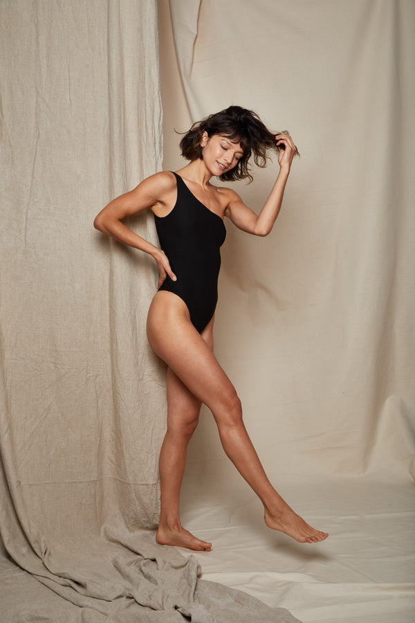 ARIELLE recycled polyester black one piece swimsuit