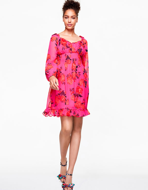 BLOOMING ROSES DRESS PINK MULTI - APPAREL - Betsey Johnson