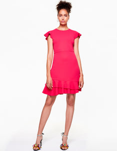 RUFFLED UP DRESS FUSCHIA