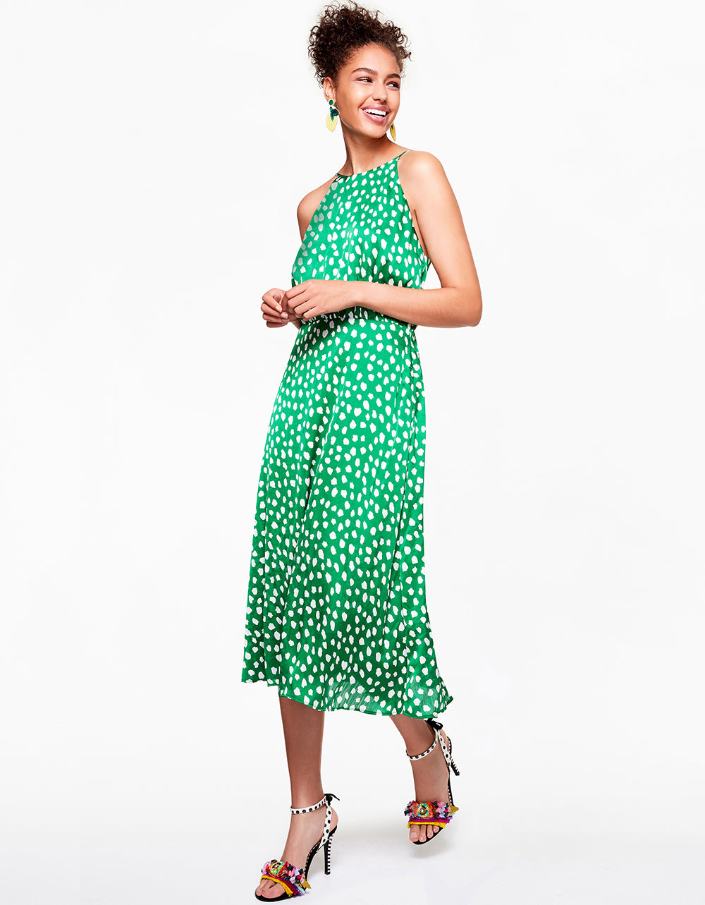 Betsey Johnson ALL THE DOTS DRESS in GREEN MULTI